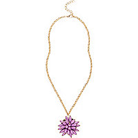 Girls purple flower statement necklace