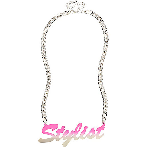 Girls pink stylist statement necklace