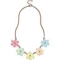 Girls yellow daisy chain statement necklace