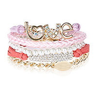 Girls pink love friendship bracelet pack