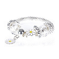 Girls silver look moveable charm bracelet
