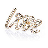 Girls metal yellow love diamante ring