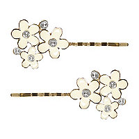 Girls cream flower hair slides