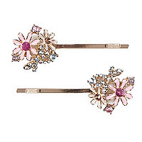 Girls pink flower hair slides