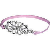 Girls pink stretch diamante headband
