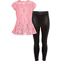 Girls pink lace peplum top and leggings set