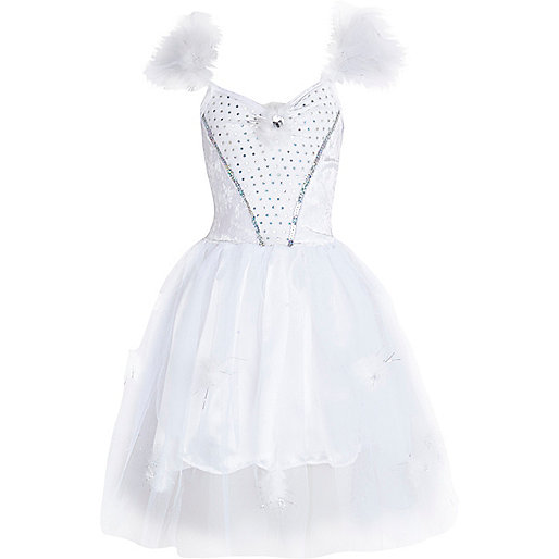 Girls white snowflake fairy dress