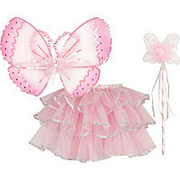 Girls pink dress up fairy kit