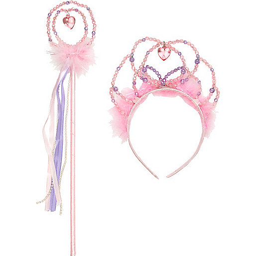 Girls pink princess wand and tiara set