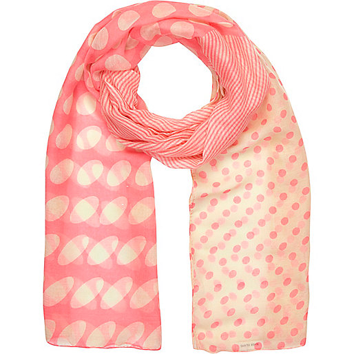 Girls pink spot and stripe scarf