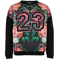 Girls black floral 23 sweatshirt
