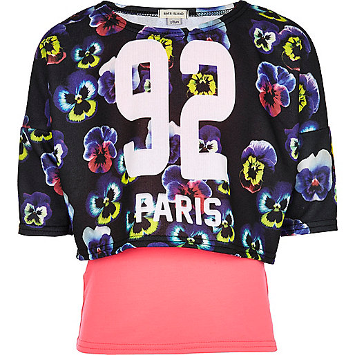 Girls blue 2 in 1 floral Paris sweat top