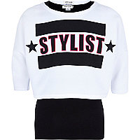 Girls white 2 in 1 Stylist print sweat top