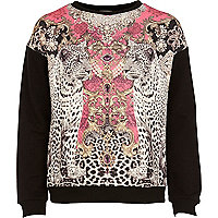 Girls black reflective leopard sweatshirt