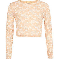 Girls light pink lace crop top