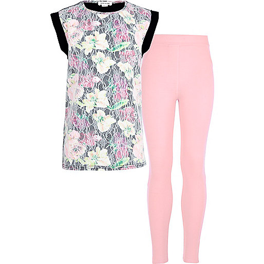 Girls pink lace t-shirt and pink leggings set