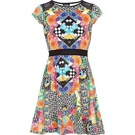 Girls orange aztec print skater dress