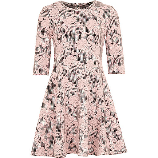 Girls pink jacquard floral dress