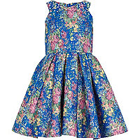 Girls blue jacquard pleat prom dress