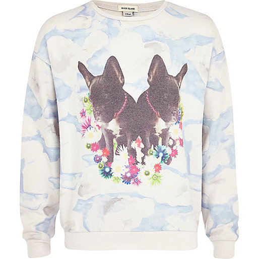 Girls cream bulldog cloudy print sweatshirt