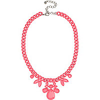 Girls pink statement neon chain