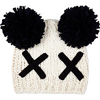 Girls cream cross bobble beanie hat