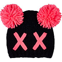 Girls black cross bobble beanie hat