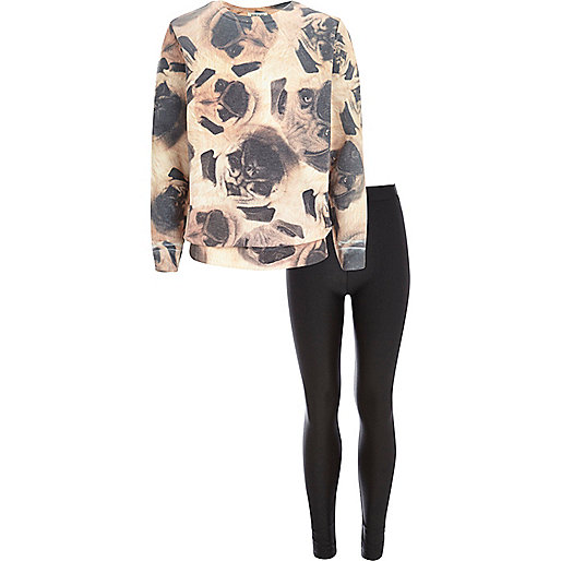 Girls brown pug print sweat and leggings set