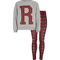 Girls grey tartan R sweatshirt and leggings