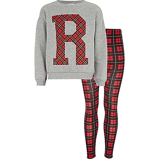 Girls grey plaid R sweatshirt and leggings