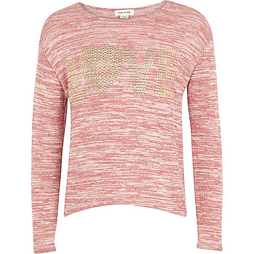 Girls pink studded love top