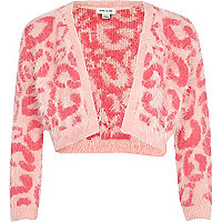 Girls pink fluffy leopard print shrug