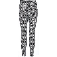 Girls black geometric print leggings