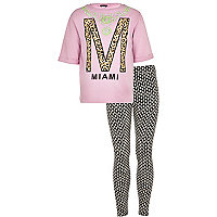 Girls pink miami sweat with leggings