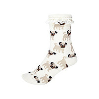 Girls cream pug print socks