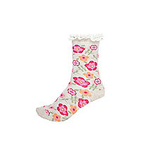 Girls cream floral white frill top socks