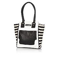 Girls white mono tote handbag