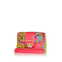 Girls pink floral lock satchel bag
