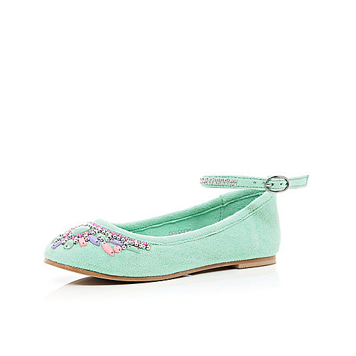 Girls green embellished suede ballerina shoe