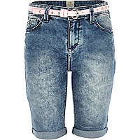 Girls light acid wash long shorts