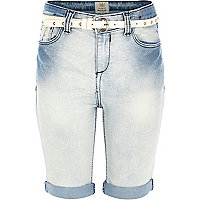 Girls light bleach wash long denim shorts
