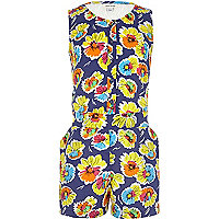 Girls blue floral playsuit