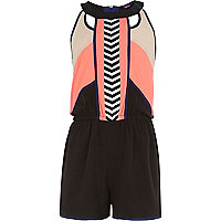 Girls black embroidered playsuit