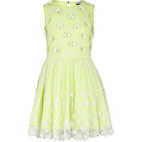 Girls neon lime flower lace prom dress