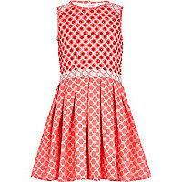 Girls pink embellished jacquard dress