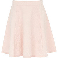 Girls pink dolly floral textured skirt