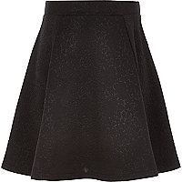 Girls black dolly floral textured skirt