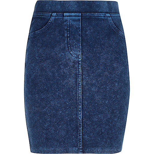 Girls blue acid wash tube skirt