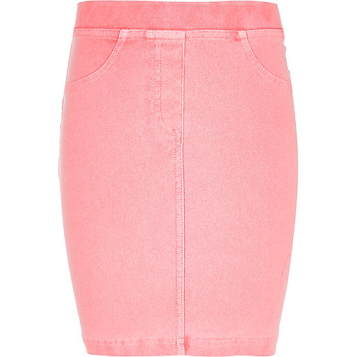 Girls pink acid wash tube skirt