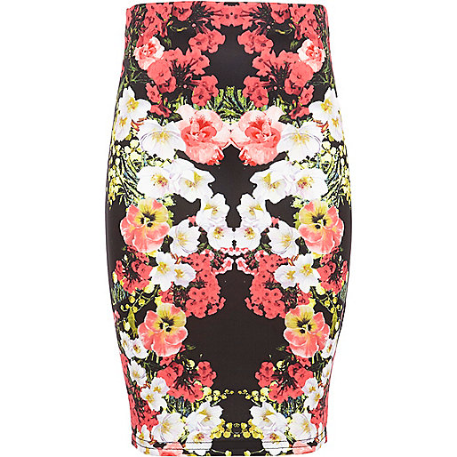 Girls black floral print tube skirt